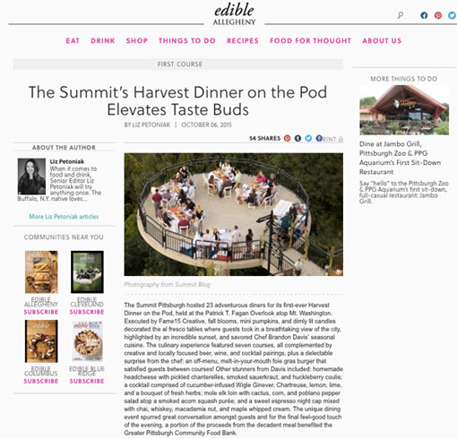 The Summit's Harvest Dinner on the Pod Elevates Taste Buds October 6, 2015