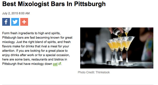 Best Mixologist Bars in Pittsburgh