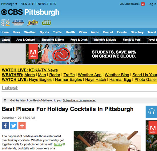 Best Places for Holiday Cocktails in Pittsburgh